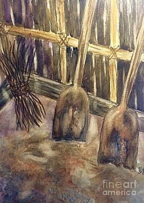 Wooden Shovels N Stick Bundle Still Life  Print by Ellen Levinson