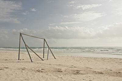 Absence Photograph - Wooden Soccer Net On Beach by Bailey