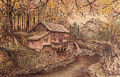 Thoreaus Cabin Painting - Wooden Solitude by Laura Scheving