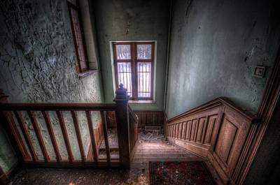 Dilapidated Digital Art - Wooden Stairs by Nathan Wright