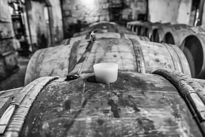 Wooden Wine Barrel Row Print by Georgia Fowler
