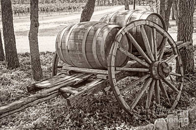 Wooden Wine Barrels On Cart Print by Imagery by Charly