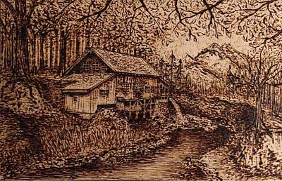 Thoreaus Cabin Pyrography - Wooden Wood by Laura Scheving
