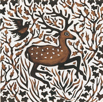 Deer Drawing - Woodland Deer by Nat Morley