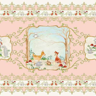 Painted Image Painting - Woodland Fairy Tale - Blush Pink Forest Gathering Of Woodland Animals by Audrey Jeanne Roberts