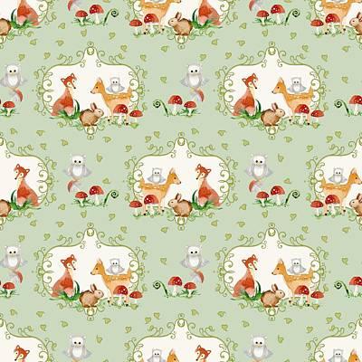 Woodland Fairy Tale - Mint Green Sweet Animals Fox Deer Rabbit Owl - Half Drop Repeat Print by Audrey Jeanne Roberts