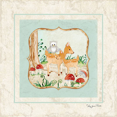 Woodland Fairy Tale - Owl On Deer Fawns Back In Forest Print by Audrey Jeanne Roberts