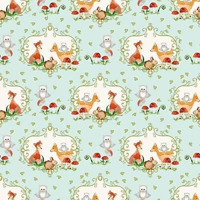 Woodland Fairy Tale - Sweet Animals Fox Deer Rabbit Owl - Half Drop Repeat Print by Audrey Jeanne Roberts