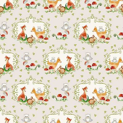 Woodland Fairy Tale -  Warm Grey Sweet Animals Fox Deer Rabbit Owl - Half Drop Repeat Print by Audrey Jeanne Roberts