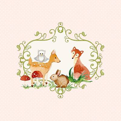 Woodland Fairytale - Animals Deer Owl Fox Bunny N Mushrooms Print by Audrey Jeanne Roberts