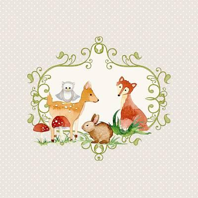 Woodland Fairytale - Grey Animals Deer Owl Fox Bunny N Mushrooms Print by Audrey Jeanne Roberts