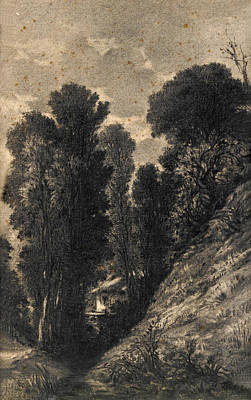 Drawing - Woodland Landscape by Attributed to Antonio Fontanesi