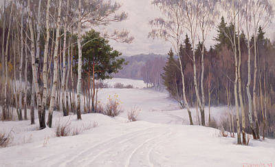 Christmas Greeting Painting - Woodland Trail by Boris Walentinowitsch Scherkow