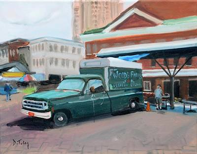 Square Painting - Woods Farms At Historic Roanoke City Market by Donna Tuten