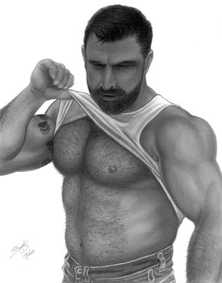 Homoerotic Drawing - Woof by Brent  Marr