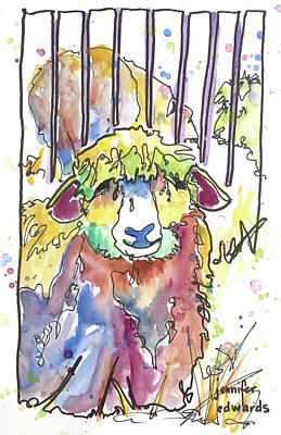 Sheep Drawing - Wool Ewe Be Mine? by Jennifer Edwards