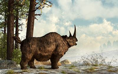 Ice Age Digital Art - Woolly Rhino by Daniel Eskridge