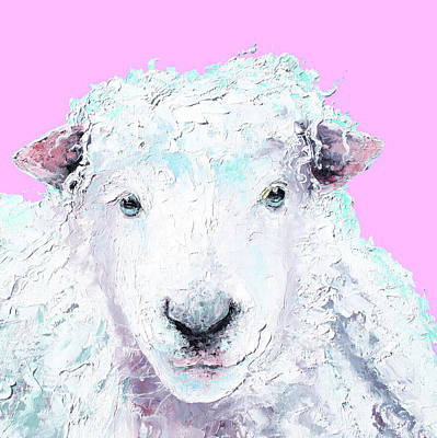 Animal Painting - Woolly Sheep On Pink by Jan Matson