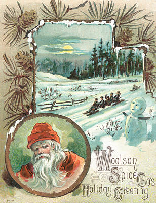 Company Drawing - Woolson Spice Company Christmas Card by John Henry Bufford