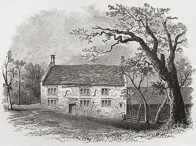 Newton Drawing - Woolsthorpe Manor In by Vintage Design Pics