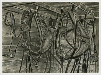 Old Barn Drawing Drawing - Work Harness by Bryan Baumeister
