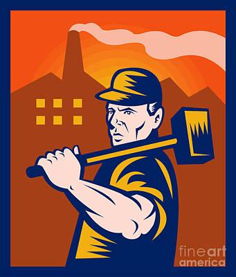 Worker With Sledgehammer Print by Aloysius Patrimonio