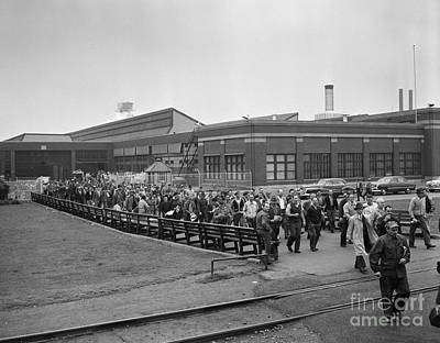 Building Factory Work Vintage Photograph - Workers Leaving A Factory, C.1950s by H. Armstrong Roberts/ClassicStock