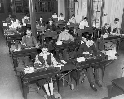 Workers Using Data Punch Cards Print by Underwood Archives