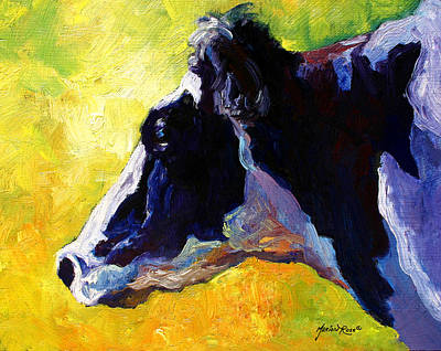 Cows Painting - Working Girl - Holstein Cow by Marion Rose