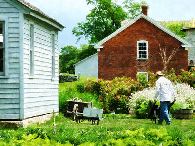Houses Photograph - Working On The Farm by Susan Savad