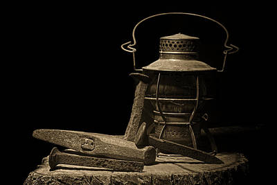 Lamp Photograph - Working On The Railroad Still Life by Tom Mc Nemar