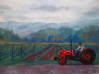 Working The Vineyard Print by Becky Chappell
