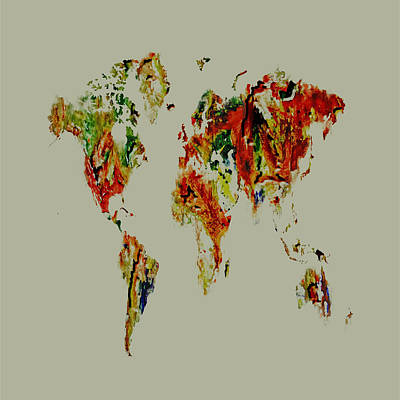 Mapping Mixed Media - World Map 02a by Brian Reaves