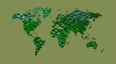 Illustration Digital Art - World Map 1 Green by Alberto  RuiZ
