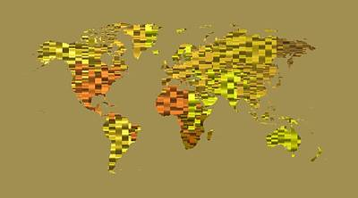 Cool Digital Art - World Map 1 Yellow by Alberto  RuiZ