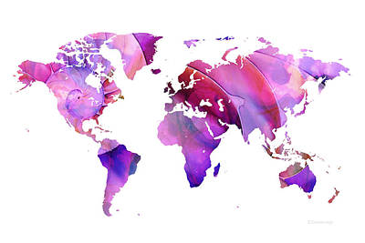World Map 20 Pink And Purple By Sharon Cummings Print by Sharon Cummings