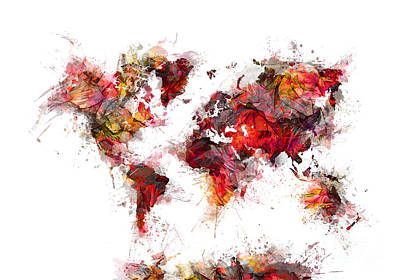 Map Of The World Digital Art - World Map 2060 by Justyna JBJart