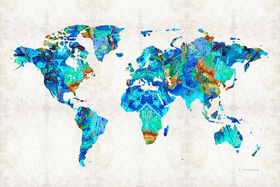 World Map 22 Art By Sharon Cummings Print by Sharon Cummings
