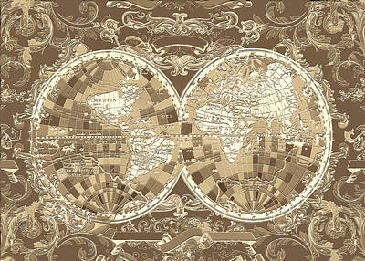 Abstract Map Digital Art - World Map Antique 3 by Bekim Art