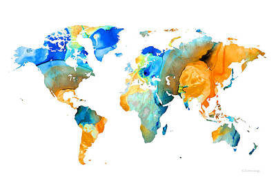 World Map Art - Map Of The World 14 - By Sharon Cummings Print by Sharon Cummings