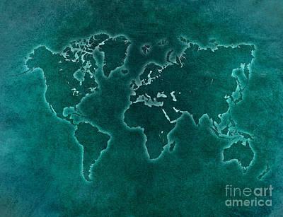 Watercolor Map Digital Art - World Map Blue Light by Justyna JBJart