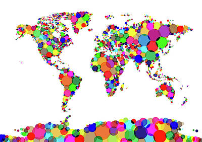 Colourfull Digital Art - World Map Circles by Michael Tompsett