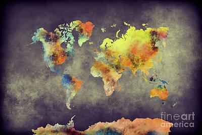 World Map Dark Side Print by Justyna JBJart