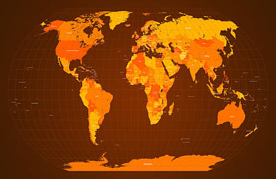 World Map Fall Colours Print by Michael Tompsett