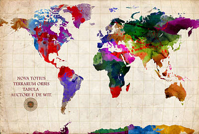 America Mixed Media - World Map by Gary Grayson