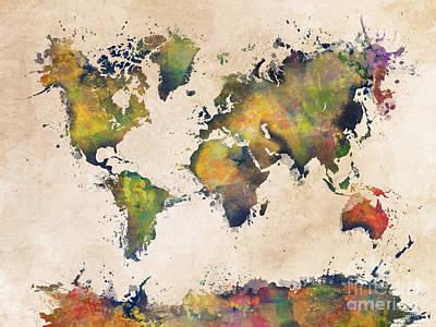 World Map Green Splash Print by Justyna JBJart