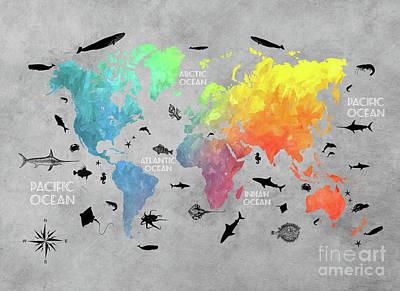 World Map Digital Art - World Map Grey Art by Justyna JBJart