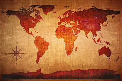Compass Photograph - World Map Grunge Style by Johan Swanepoel