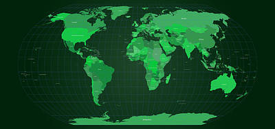 World Map In Green Print by Michael Tompsett