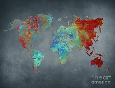World Map Metal Print by Justyna JBJart